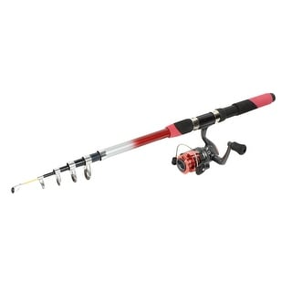 Unique Bargains Fuchsia 6 Sections Retractable Fish Rod Pole 2.6M w Fishing Spinning Reel