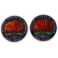Usa Buffalo Nickel Coin Cufflinks Hand Painted Coin Collector Memorbilla