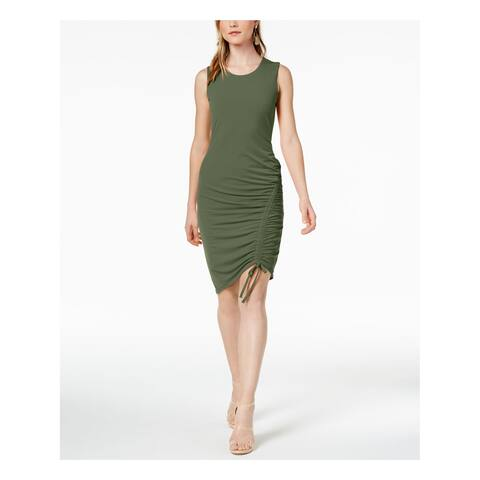 BAR III Womens Green Ruched Sleeveless Jewel Neck Above The Knee Body Con Cocktail Dress Plus Size: 2XS
