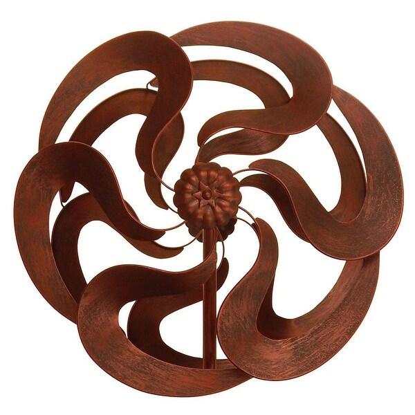 "Innovative 75"" Bronze Flower Windmill Stake"