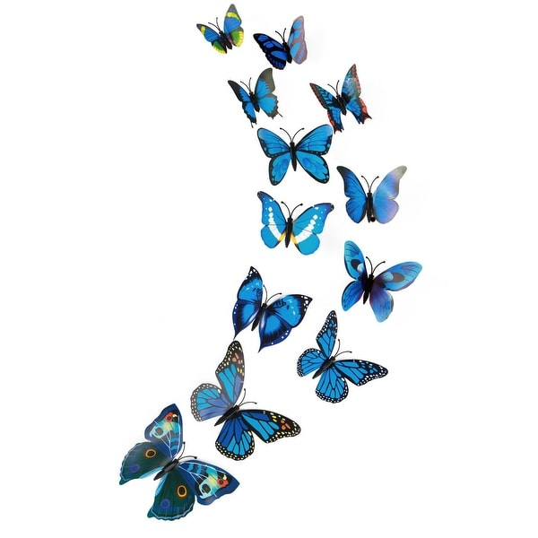 3D Butterfly Wall Sticker Decal Sticker for Home Room Decoration Blue