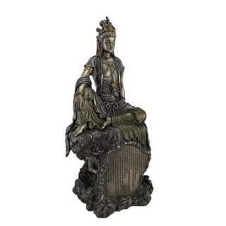Bronzed Finish Seated Kuan Yin Statue Hand Painted Accents