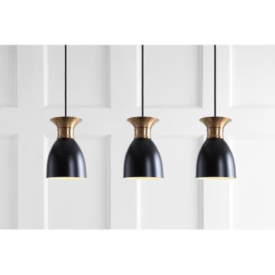Edison Linear Metal LED Cluster Pendant, Black/Gold by JONATHAN Y