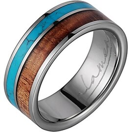 Titanium Wedding Band With Koa Wood & Turquoise Inlay 8mm