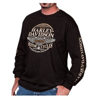 Harley-Davidson Men's Commander Wing Bar & Shield Long Sleeve Shirt, Black