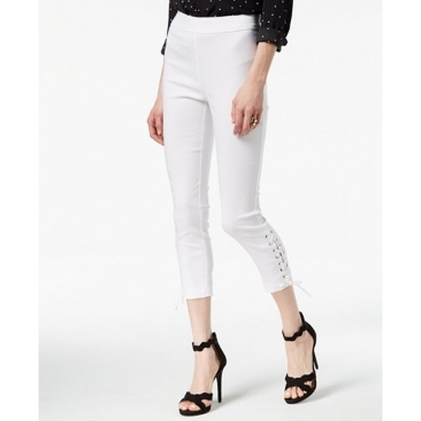 XOXO White Size 6 Junior Cropped Stretch Lace-Up Skinny Pants