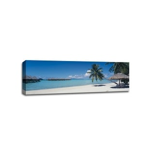 Moana Beach with Umbrella- Bora Bora - Beaches - 48x16 Gallery Wrapped Canvas