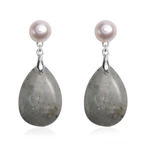 Sterling Silver Labradorite Fresh Water Pearl Dangle Earrings Ct 30