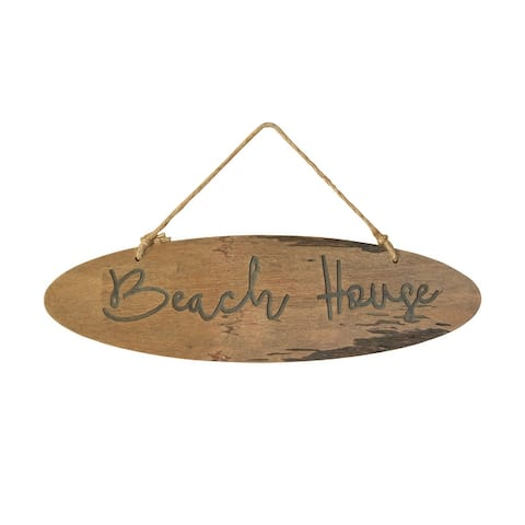 """20""""W """"Beach House"""" Wood Wall Decor with Jute Hanger - Brown"""
