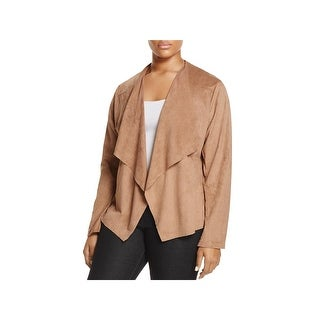 Alison Andrews Womens Plus Jacket Flyaway Faux Suede