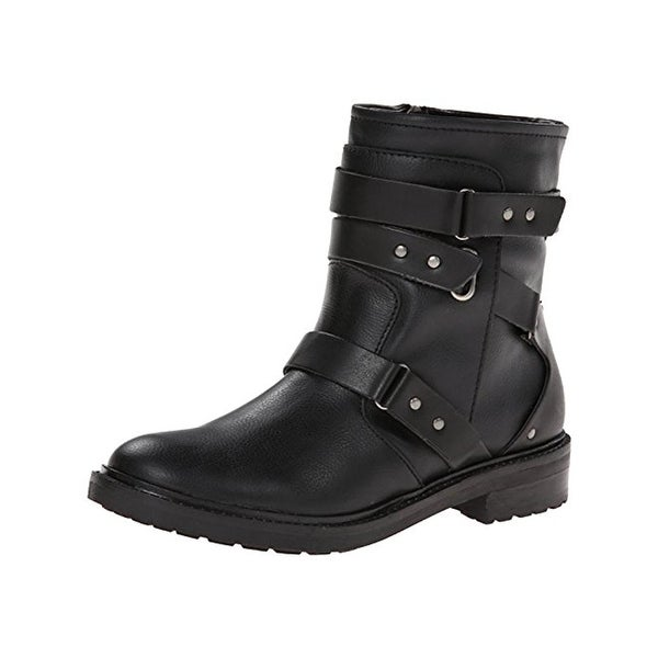 DV By Dolce Vita Womens Fayrah Motorcycle Boots Faux Leather Ankle