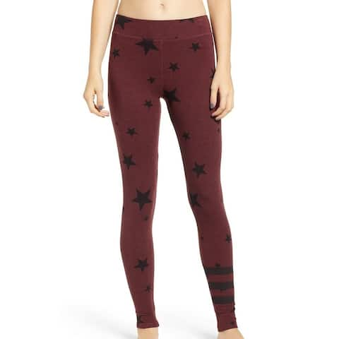 Sundry Womens Leggings Red Size 1 US 2-4 Star Striped Stretch Yoga