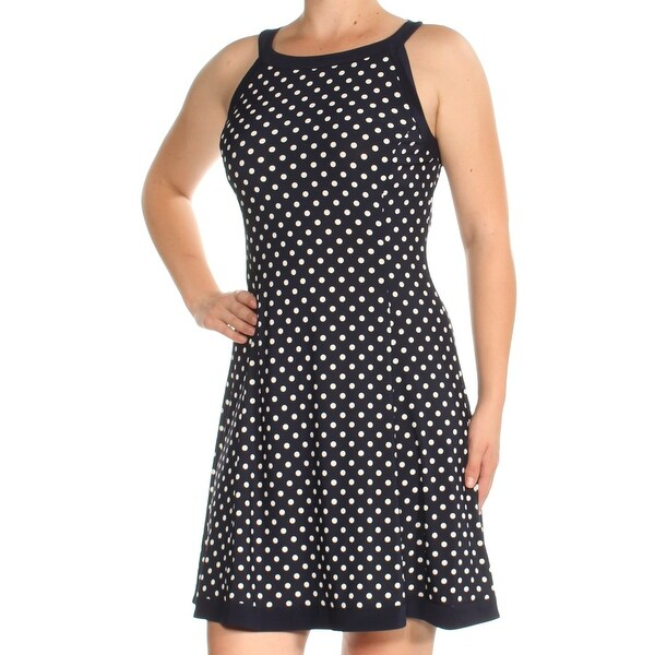 9cff95cf23c Shop AMERICAN LIVING Womens Navy Polka Dot Sleeveless Jewel Neck Above The  Knee Fit + Flare Dress Size: 8 - Free Shipping On Orders Over $45 -  Overstock - ...