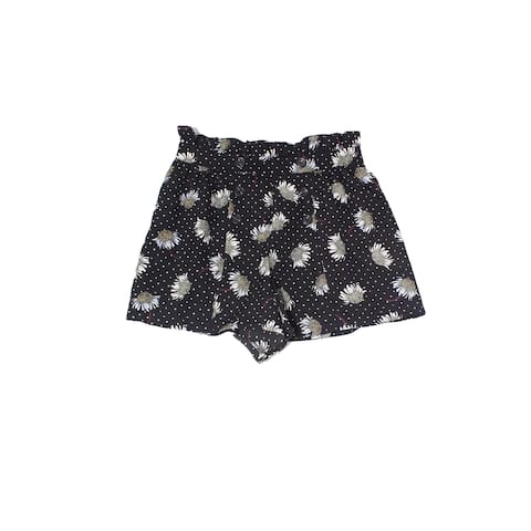 Topshop Black Womens Size 2 Floral Print Dotted Casual Shorts