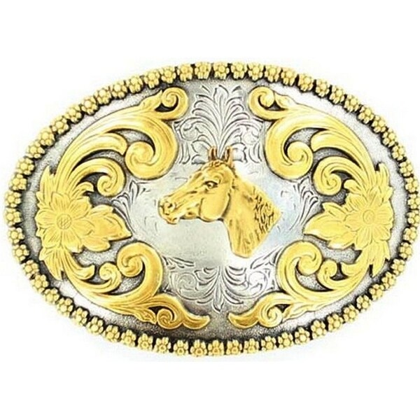 Nocona Western Belt Buckle Oval Horse Gold Silver - 2 3/4 x 4