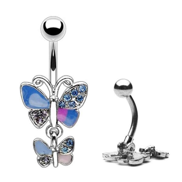 Pave Gem Wing Double Butterfly Navel Belly Button Ring