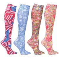 Women's Mild Compression Wide Calf Knee High Support Socks - Seasonal Print Set of 4 - Medium