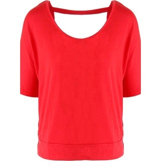 Rebellious One Womens Juniors Pullover Top Open Back Short Sleeves