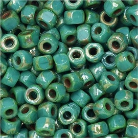 Czech Glass, Tri-Cut 6/0 Matubo Seed Beads, 8 Grams, Turquoise Green Picasso