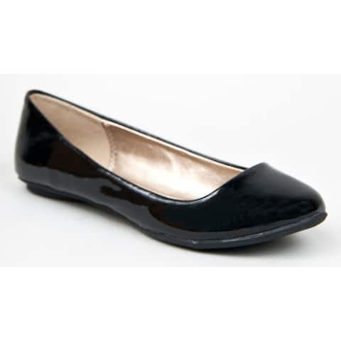 Qupid Thesis-92 Classic Round Toe Patent Slip On Basic Comfortable Flat