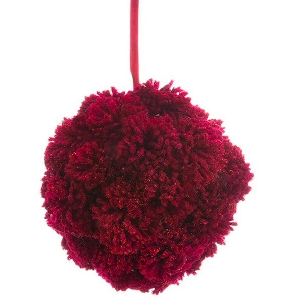 "6"" Glittered Burgundy Red Plush Pom-Pom Christmas Ball Ornament"