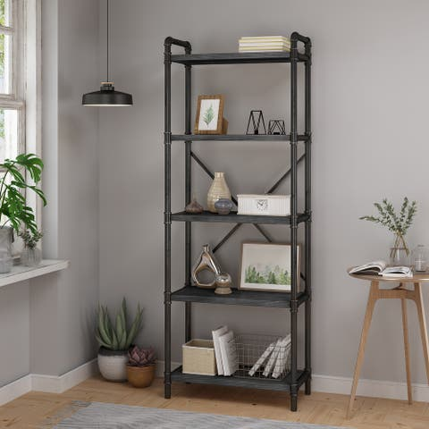 """Driscoe Industrial Fir Wood Bookcase by Christopher Knight Home - 24.00"""" W x 12.00"""" D x 71.00"""" H"""