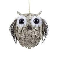 Glitter Drenched Owl with Feather Wings Christmas Ornaments 4.25""