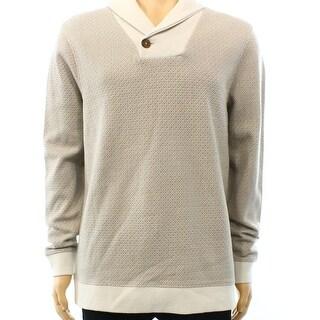 Tasso Elba NEW Beige Vanilla Men's Size Large L Shawl-Collar Sweater