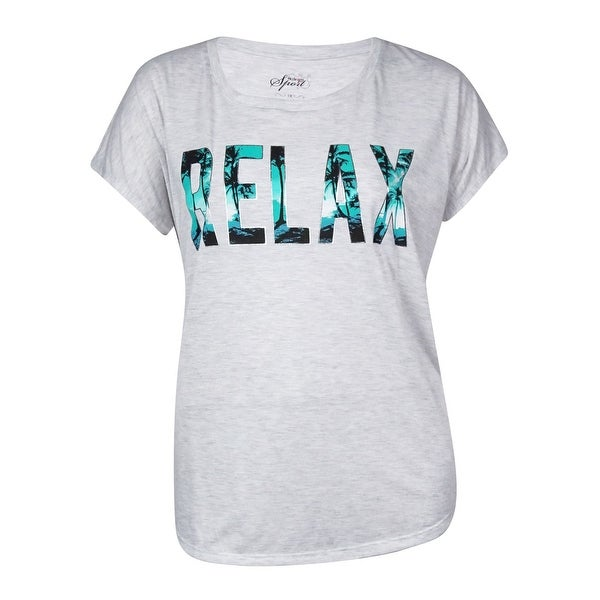 Style & Co. Women's Tropical 'Relax' Text Tee - white heather