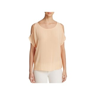 Side Stitch Womens Casual Top Cold Shoulder Scoop Neck