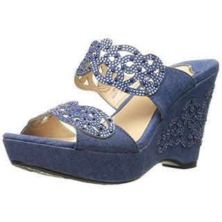 J. Renee Womens Jenay Studded Slide Wedge Sandals