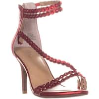 TS35 Darrla Wrap Ankle Strap Sandals, Red Metallic - 8 us