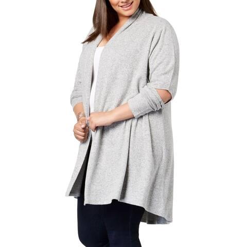 Love Scarlett Women's Sweater Gray Size 1X Plus Cardigan Cutout-Elbow
