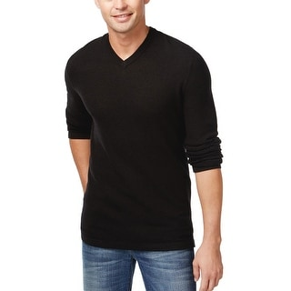 INC International Concepts Ribbed V-Neck Sweater Deep Black Large L