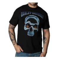 Harley-Davidson Men's Johnny Blaze Skull Crew Short Sleeve T-Shirt - Black