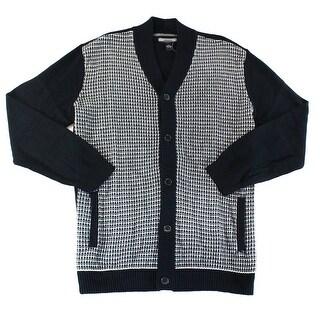 Alfani NEW Black Combo Mens Size Large L Cardigan Textured Knit Sweater