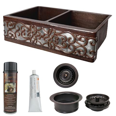 Premier Copper Products KSP3_KA50DB33229S-NB Kitchen Sink and Drain Package