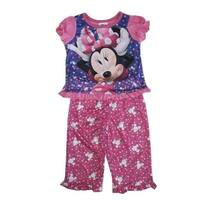 Disney Baby Girl Pink Purple Minnie Polka Dot Print 2 Pc Pajama Set 12-24M