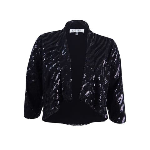 Kasper Women's Sequin Flyaway Jacket - Black