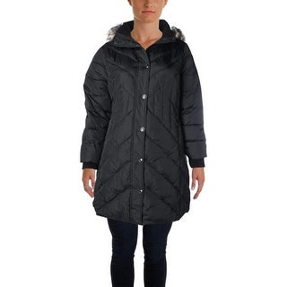 London Fog Womens Plus Puffer Coat Hooded 3/4 Down
