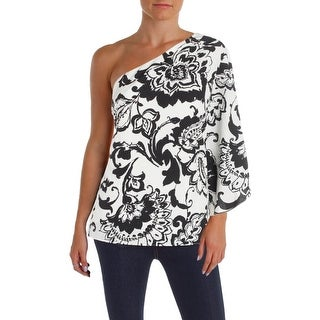Lauren Ralph Lauren Womens Blouse Printed One Shoulder