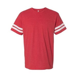 Adult Football Fine Jersey Tee - Vintage Red/ White - M