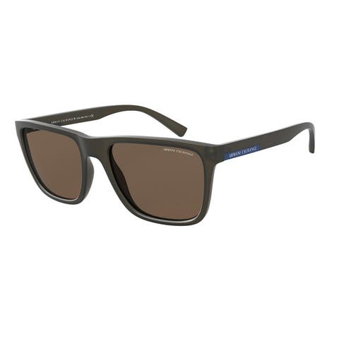 Armani Exchange AX4080S 812173 57 Matte Brown Man Square Sunglasses