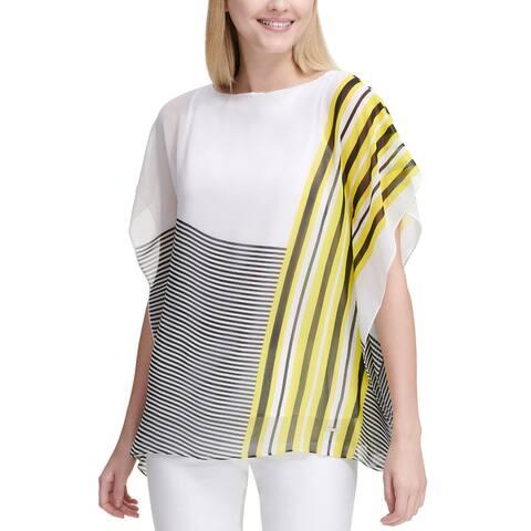 Calvin Klein Ladies Mixed-Stripe Kaftan Top Small White and Yellow