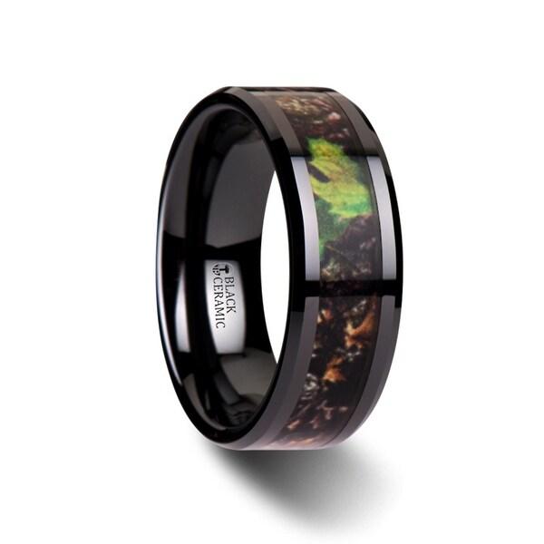 Nightfall Realistic Tree Camo Black Ceramic Wedding Band With Green Leaves