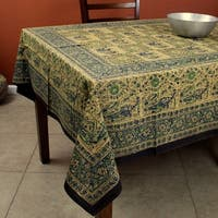 Handmade Elephant Batik Block Print Tablecloth Rectangular Cotton 60x90 Inches in three shades - Green Brown & Gray