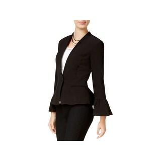 XOXO Womens Juniors One-Button Blazer Peplum Bell Sleeves - S