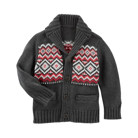 Oshkosh B'gosh Baby Boys' Fair Isle Shawl Collar Cardigan Sweater Grey/Red- 24 Months