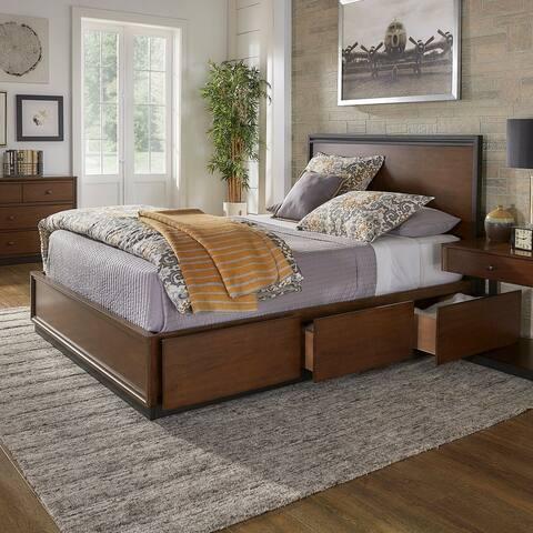 Rohan Walnut Finish Storage Platform Bed by iNSPIRE Q Modern