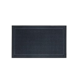 "Dennis CRNUB1830 Functional Recycled Rubber Floor Mat, Black, 18"" x 30"""